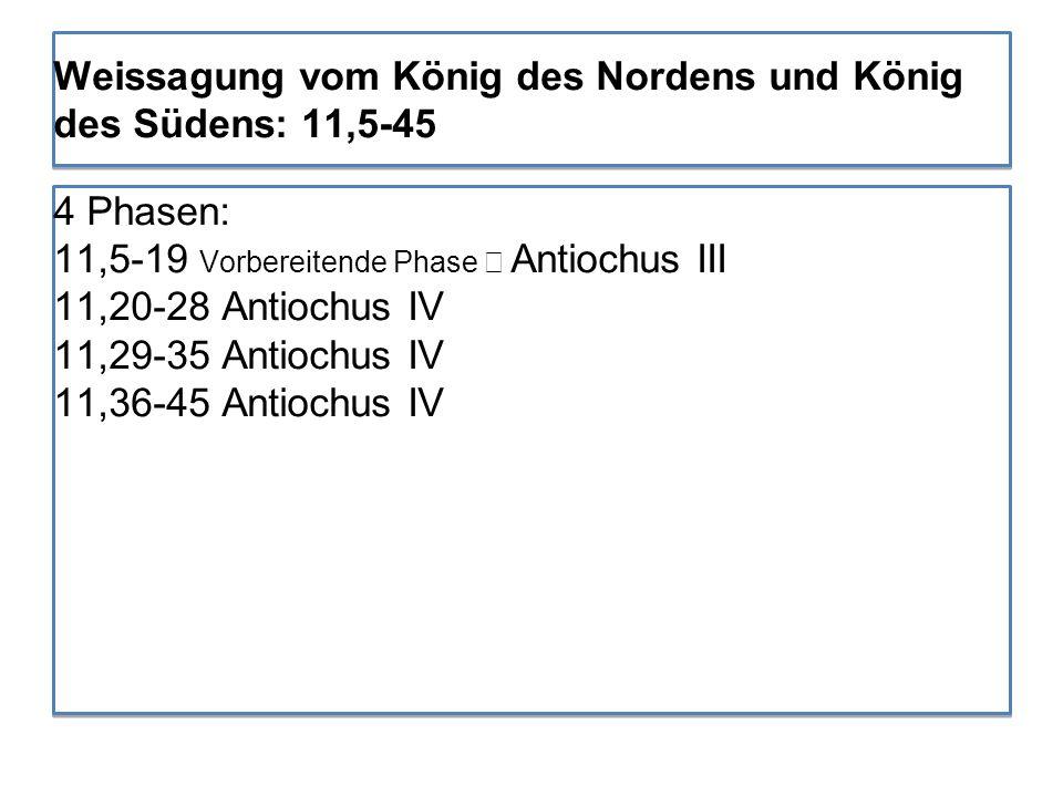 4 Phasen: 11,5-19 Vorbereitende Phase → Antiochus III 11,20-28 Antiochus IV 11,29-35 Antiochus IV 11,36-45 Antiochus IV 4 Phasen: 11,5-19 Vorbereitend