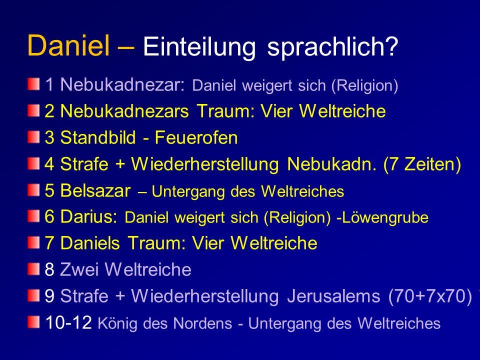 1 Nebukadnezar: Daniel weigert sich (Religion) 2 Nebukadnezars Traum: Vier Weltreiche 3 Standbild - Feuerofen 4 Strafe + Wiederherstellung Nebukadn. (