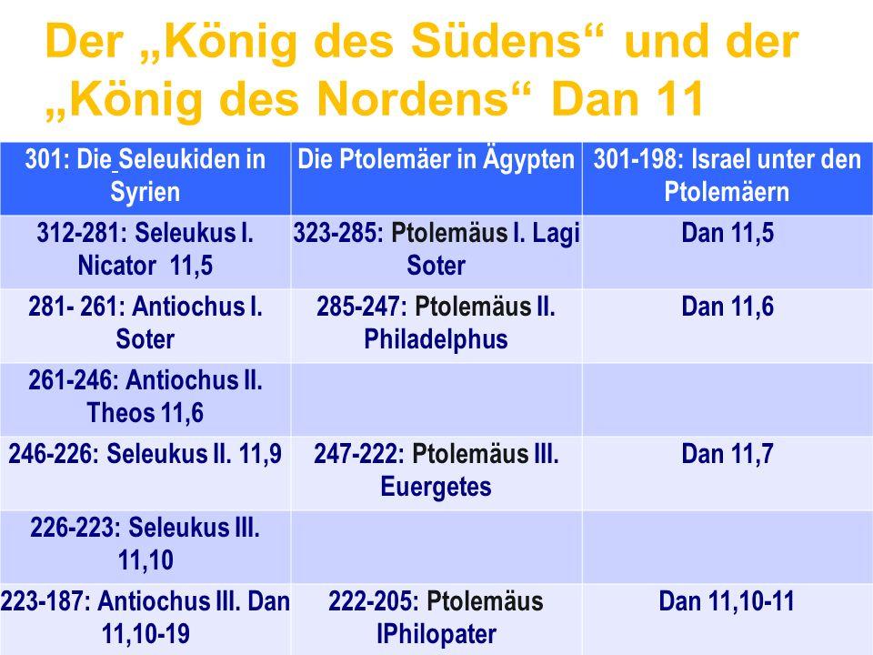 """Der """"König des Südens"""" und der """"König des Nordens"""" Dan 11 301: Die Seleukiden in Syrien Die Ptolemäer in Ägypten301-198: Israel unter den Ptolemäern 3"""