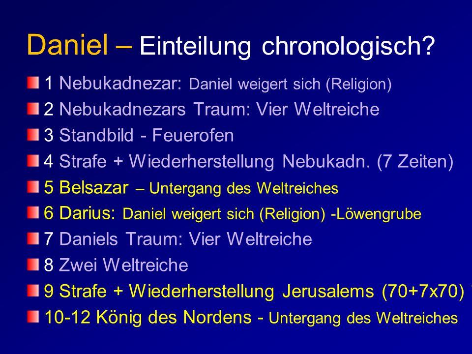 Daniel – Einteilung chronologisch? 1 Nebukadnezar: Daniel weigert sich (Religion) 2 Nebukadnezars Traum: Vier Weltreiche 3 Standbild - Feuerofen 4 Str