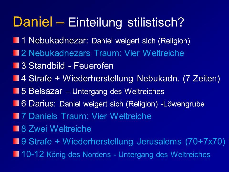 Daniel – Einteilung stilistisch? 1 Nebukadnezar: Daniel weigert sich (Religion) 2 Nebukadnezars Traum: Vier Weltreiche 3 Standbild - Feuerofen 4 Straf