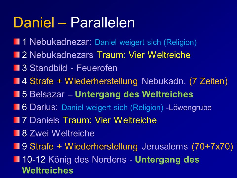 Daniel – Parallelen 1 Nebukadnezar: Daniel weigert sich (Religion) 2 Nebukadnezars Traum: Vier Weltreiche 3 Standbild - Feuerofen 4 Strafe + Wiederher