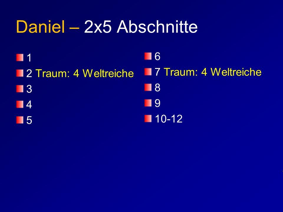 Daniel – 2x5 Abschnitte 1 2 Traum: 4 Weltreiche 3 4 5 6 7 Traum: 4 Weltreiche 8 9 10-12