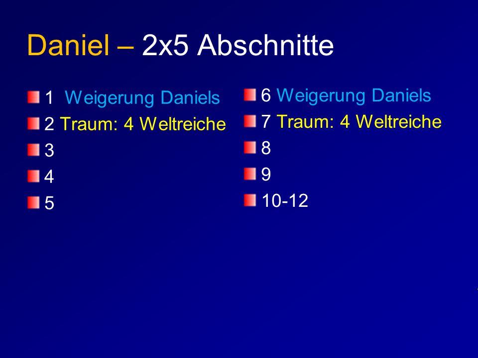 Daniel – 2x5 Abschnitte 1 Weigerung Daniels 2 Traum: 4 Weltreiche 3 4 5 6 Weigerung Daniels 7 Traum: 4 Weltreiche 8 9 10-12