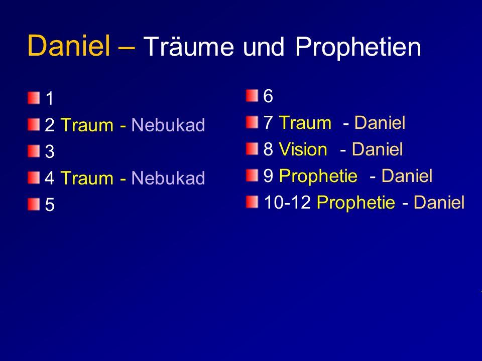 Daniel – Träume und Prophetien 1 2 Traum - Nebukad 3 4 Traum - Nebukad 5 6 7 Traum - Daniel 8 Vision - Daniel 9 Prophetie - Daniel 10-12 Prophetie - D