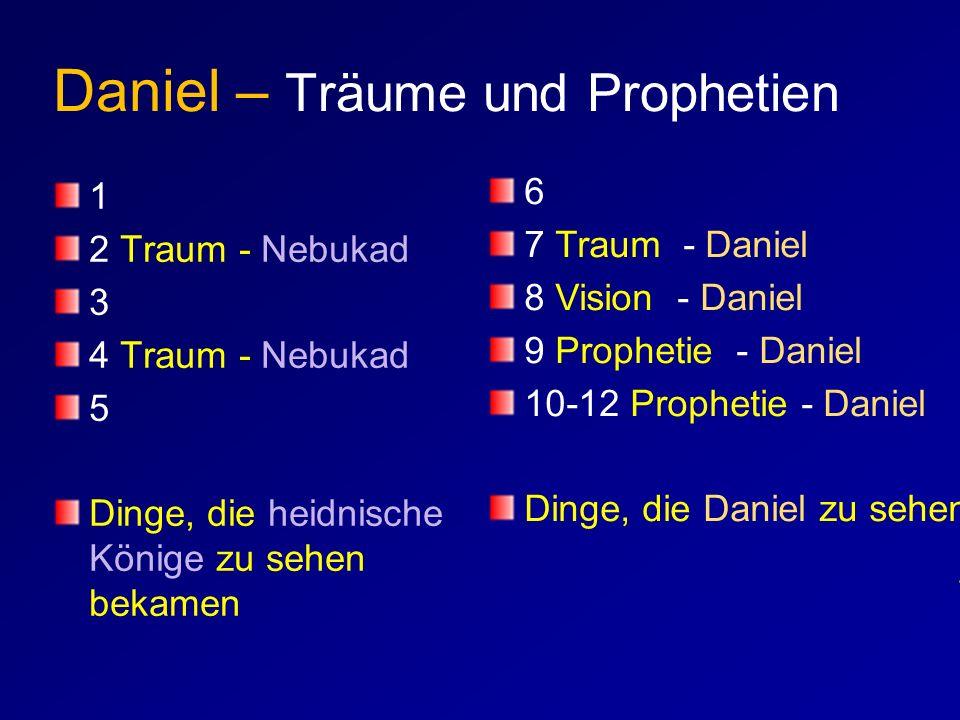 Daniel – Träume und Prophetien 1 2 Traum - Nebukad 3 4 Traum - Nebukad 5 Dinge, die heidnische Könige zu sehen bekamen 6 7 Traum - Daniel 8 Vision - D