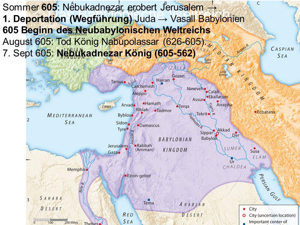 Nabopolassar (Vater von Nebukadnezar)626-605 Nebukadnezar605-562 Evil Merodach (Amel Marduk)562-560 Nergal560-556 Labashi Marduk556 Nabonidus (Schwiegersohn von Nebukadnezar) 556-539 Belsazar (Mitregent und Stellvertreter von Nabonid während dessen 10jähriger Abwesenheit) 553-539 Babylonische Herrscher