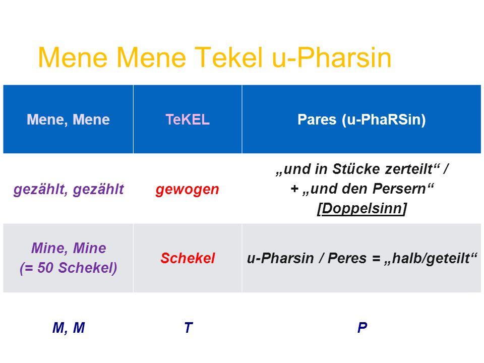 """Mene, MeneTeKELPares (u-PhaRSin) gezählt, gezähltgewogen """"und in Stücke zerteilt"""" / + """"und den Persern"""" [Doppelsinn] Mine, Mine (= 50 Schekel) Schekel"""