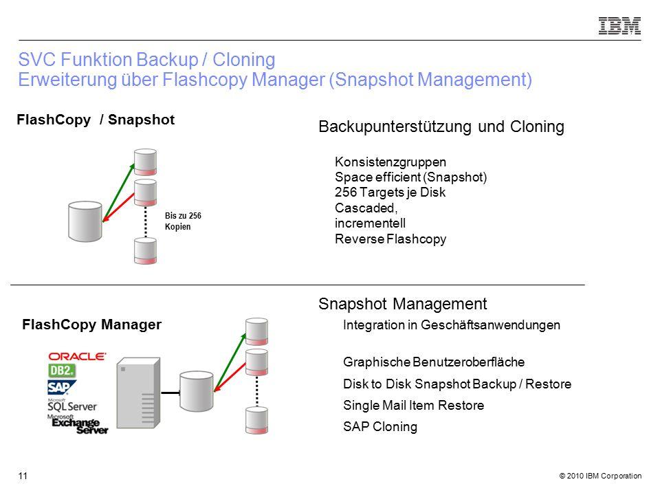 © 2010 IBM Corporation 11 SVC Funktion Backup / Cloning Erweiterung über Flashcopy Manager (Snapshot Management) Backupunterstützung und Cloning Konsistenzgruppen Space efficient (Snapshot) 256 Targets je Disk Cascaded, incrementell Reverse Flashcopy Snapshot Management Integration in Geschäftsanwendungen Graphische Benutzeroberfläche Disk to Disk Snapshot Backup / Restore Single Mail Item Restore SAP Cloning FlashCopy Manager FlashCopy / Snapshot Bis zu 256 Kopien