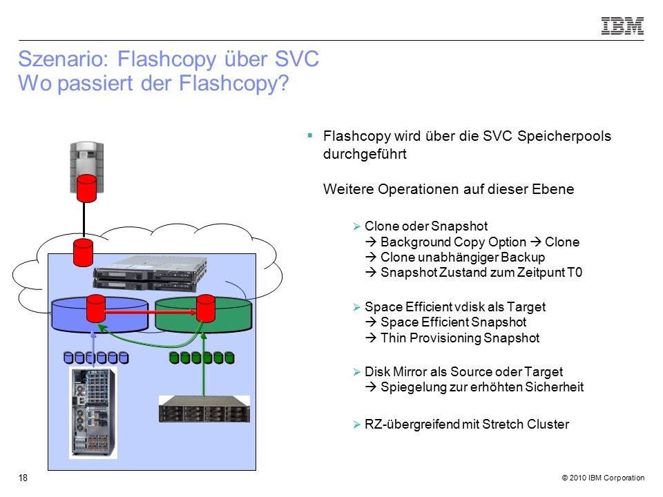 © 2010 IBM Corporation 18 Szenario: Flashcopy über SVC Wo passiert der Flashcopy.