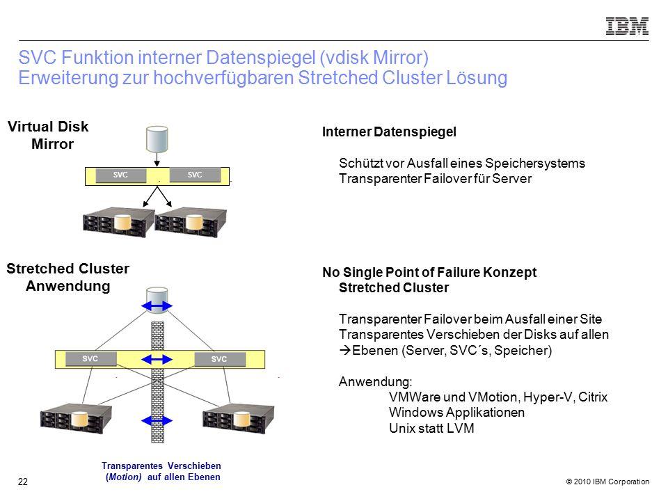 © 2010 IBM Corporation 22 SVC Funktion interner Datenspiegel (vdisk Mirror) Erweiterung zur hochverfügbaren Stretched Cluster Lösung SVC Interner Datenspiegel Schützt vor Ausfall eines Speichersystems Transparenter Failover für Server No Single Point of Failure Konzept Stretched Cluster Transparenter Failover beim Ausfall einer Site Transparentes Verschieben der Disks auf allen  Ebenen (Server, SVC´s, Speicher) Anwendung: VMWare und VMotion, Hyper-V, Citrix Windows Applikationen Unix statt LVM Virtual Disk Mirror Transparentes Verschieben (Motion) auf allen Ebenen Stretched Cluster Anwendung