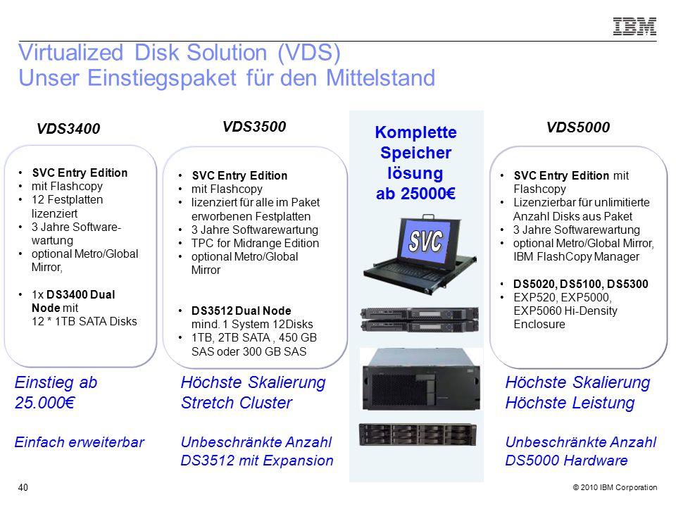 © 2010 IBM Corporation 40 Virtualized Disk Solution (VDS) Unser Einstiegspaket für den Mittelstand VDS3500 SVC Entry Edition mit Flashcopy lizenziert für alle im Paket erworbenen Festplatten 3 Jahre Softwarewartung TPC for Midrange Edition optional Metro/Global Mirror DS3512 Dual Node mind.