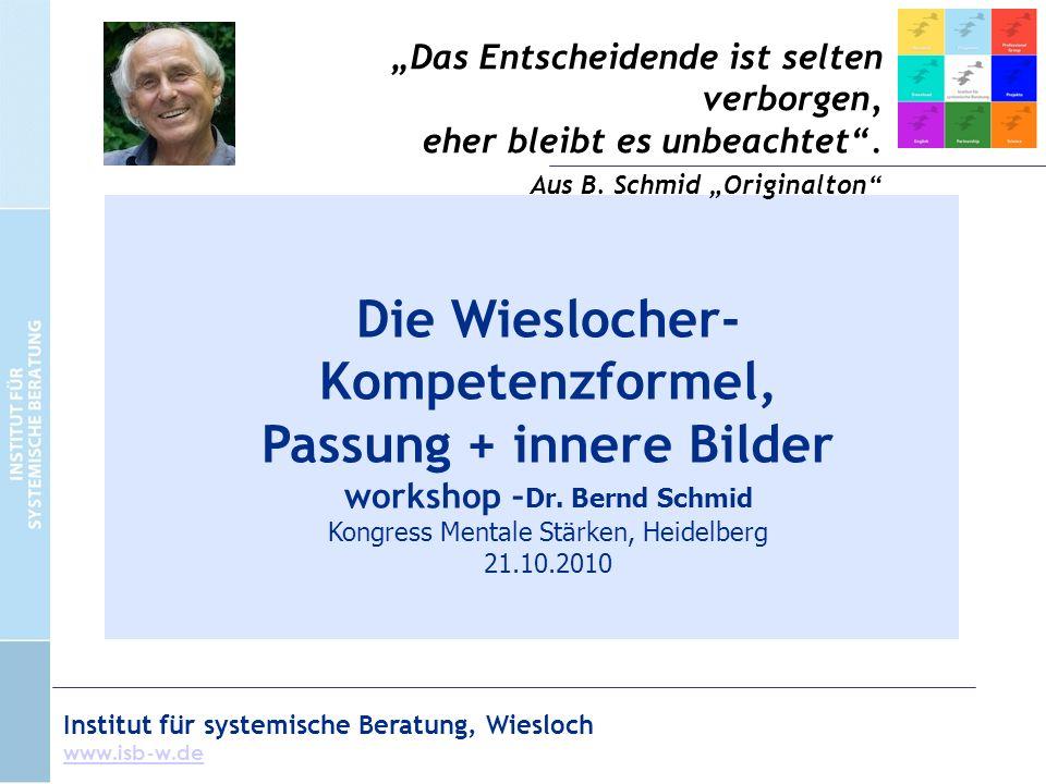 Institut für systemische Beratung, Wiesloch www.isb-w.de Die Wieslocher- Kompetenzformel, Passung + innere Bilder workshop – Dr.