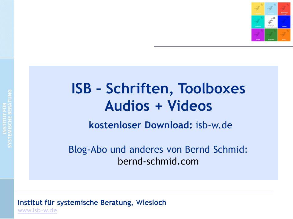 Institut für systemische Beratung, Wiesloch www.isb-w.de ISB – Schriften, Toolboxes Audios + Videos kostenloser Download: isb-w.de Blog-Abo und anderes von Bernd Schmid: bernd-schmid.com