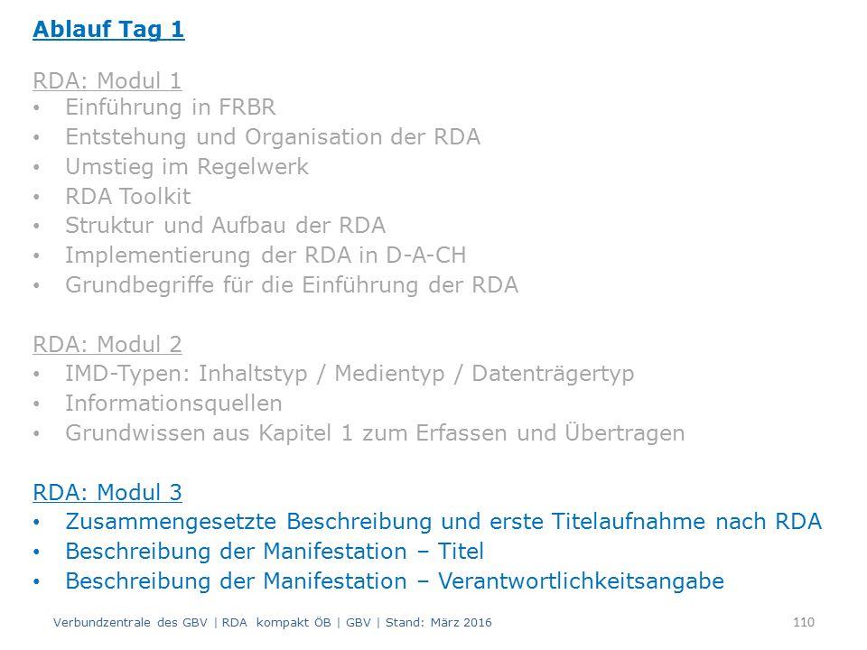 Ablauf Tag 1 RDA: Modul 1 Einführung in FRBR Entstehung und Organisation der RDA Umstieg im Regelwerk RDA Toolkit Struktur und Aufbau der RDA Implementierung der RDA in D-A-CH Grundbegriffe für die Einführung der RDA RDA: Modul 2 IMD-Typen: Inhaltstyp / Medientyp / Datenträgertyp Informationsquellen Grundwissen aus Kapitel 1 zum Erfassen und Übertragen RDA: Modul 3 Zusammengesetzte Beschreibung und erste Titelaufnahme nach RDA Beschreibung der Manifestation – Titel Beschreibung der Manifestation – Verantwortlichkeitsangabe Verbundzentrale des GBV | RDA kompakt ÖB | GBV | Stand: März 2016 110