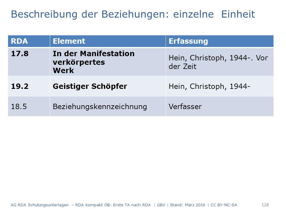 Beschreibung der Beziehungen: einzelne Einheit RDAElementErfassung 17.8 In der Manifestation verkörpertes Werk Hein, Christoph, 1944-. Vor der Zeit 19