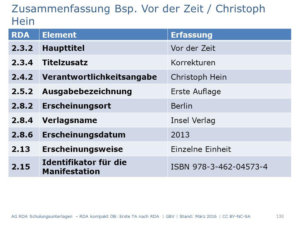 Zusammenfassung Bsp. Vor der Zeit / Christoph Hein RDAElementErfassung 2.3.2HaupttitelVor der Zeit 2.3.4TitelzusatzKorrekturen 2.4.2Verantwortlichkeit