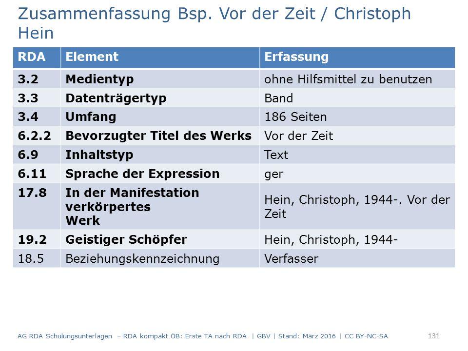 Zusammenfassung Bsp. Vor der Zeit / Christoph Hein RDAElementErfassung 3.2Medientypohne Hilfsmittel zu benutzen 3.3DatenträgertypBand 3.4Umfang186 Sei