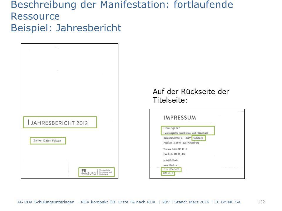 Beschreibung der Manifestation: fortlaufende Ressource Beispiel: Jahresbericht Auf der Rückseite der Titelseite: ISSN 1234-5678 132 AG RDA Schulungsun