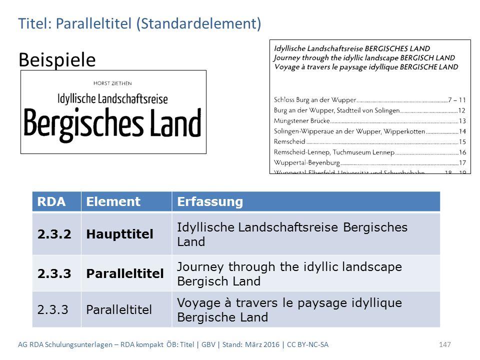 Titel: Paralleltitel (Standardelement) Beispiele RDAElementErfassung 2.3.2Haupttitel Idyllische Landschaftsreise Bergisches Land 2.3.3Paralleltitel Jo