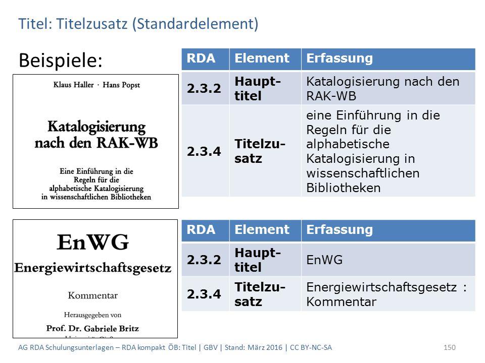 Titel: Titelzusatz (Standardelement) Beispiele: RDAElementErfassung 2.3.2 Haupt- titel Katalogisierung nach den RAK-WB 2.3.4 Titelzu- satz eine Einführung in die Regeln für die alphabetische Katalogisierung in wissenschaftlichen Bibliotheken RDAElementErfassung 2.3.2 Haupt- titel EnWG 2.3.4 Titelzu- satz Energiewirtschaftsgesetz : Kommentar 150AG RDA Schulungsunterlagen – RDA kompakt ÖB: Titel | GBV | Stand: März 2016 | CC BY-NC-SA