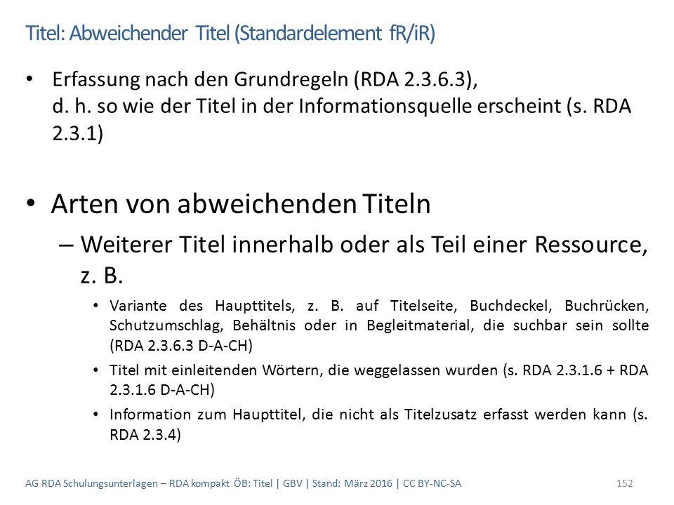 Titel: Abweichender Titel (Standardelement fR/iR) Erfassung nach den Grundregeln (RDA 2.3.6.3), d. h. so wie der Titel in der Informationsquelle ersch