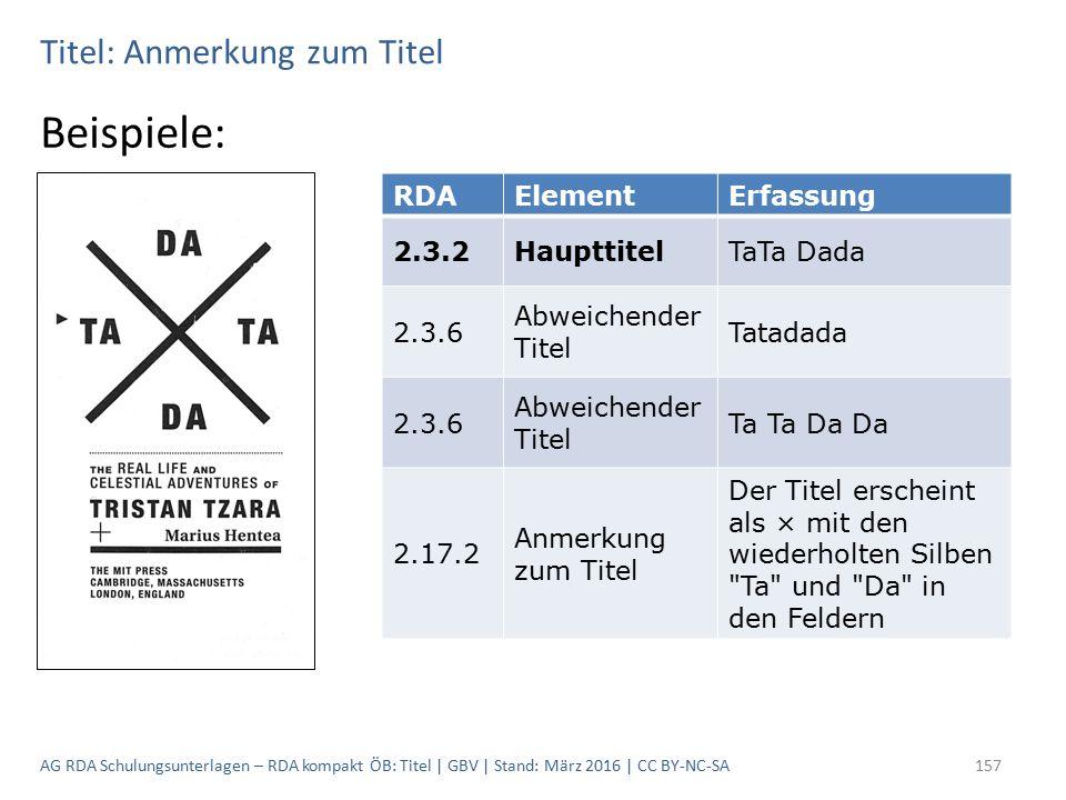 Titel: Anmerkung zum Titel Beispiele: RDAElementErfassung 2.3.2HaupttitelTaTa Dada 2.3.6 Abweichender Titel Tatadada 2.3.6 Abweichender Titel Ta Ta Da Da 2.17.2 Anmerkung zum Titel Der Titel erscheint als × mit den wiederholten Silben Ta und Da in den Feldern AG RDA Schulungsunterlagen – RDA kompakt ÖB: Titel | GBV | Stand: März 2016 | CC BY-NC-SA157