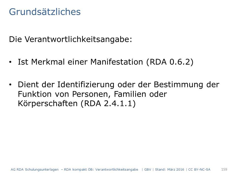Grundsätzliches Die Verantwortlichkeitsangabe: Ist Merkmal einer Manifestation (RDA 0.6.2) Dient der Identifizierung oder der Bestimmung der Funktion