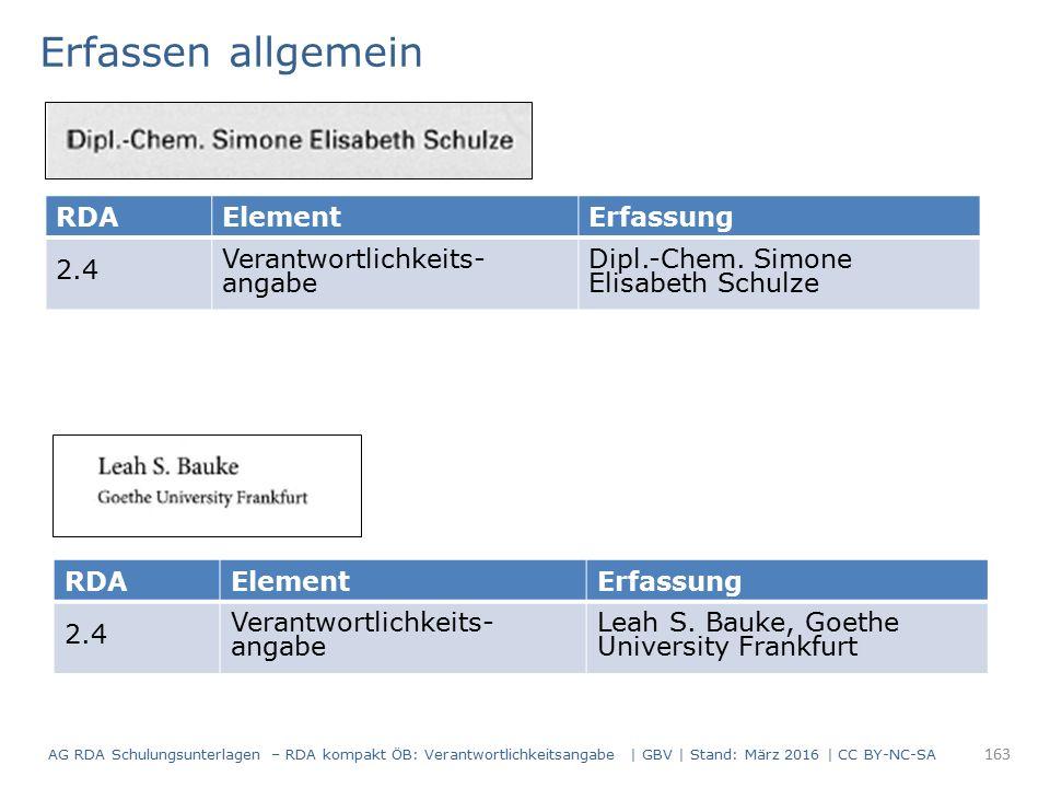 RDAElementErfassung 2.4 Verantwortlichkeits- angabe Dipl.-Chem. Simone Elisabeth Schulze Erfassen allgemein RDAElementErfassung 2.4 Verantwortlichkeit