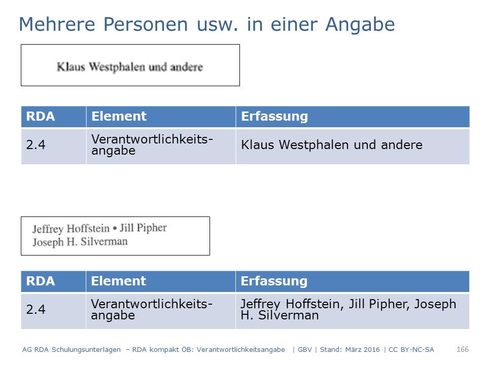 RDAElementErfassung 2.4 Verantwortlichkeits- angabe Klaus Westphalen und andere Mehrere Personen usw. in einer Angabe RDAElementErfassung 2.4 Verantwo