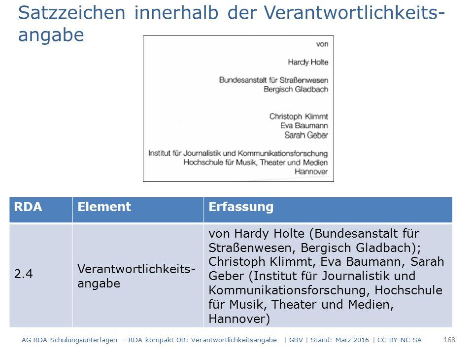 RDAElementErfassung 2.4 Verantwortlichkeits- angabe von Hardy Holte (Bundesanstalt für Straßenwesen, Bergisch Gladbach); Christoph Klimmt, Eva Baumann
