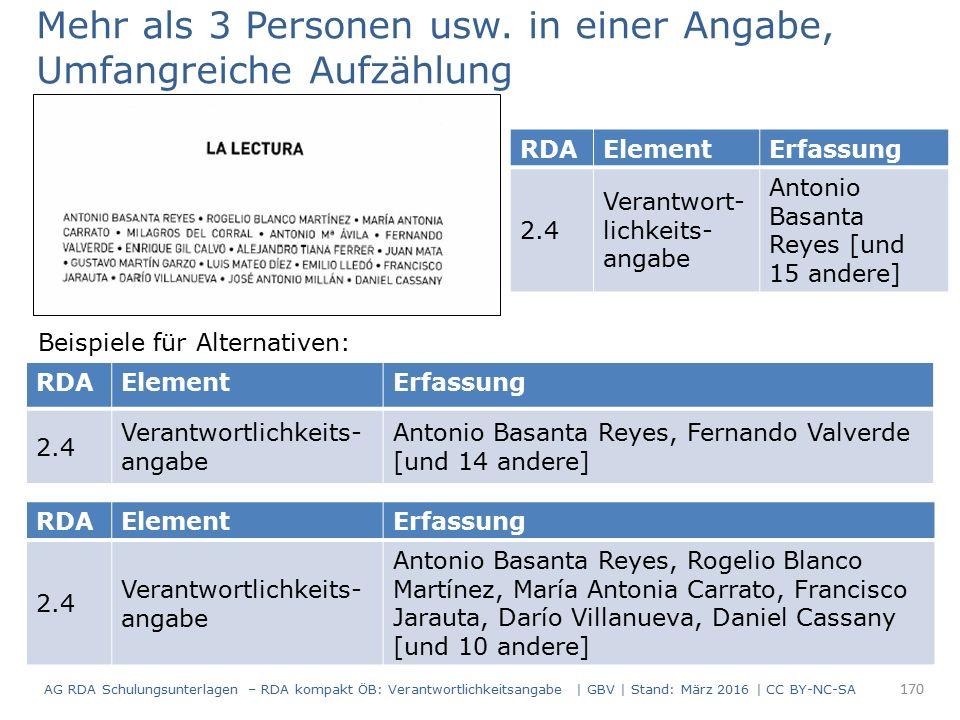 Mehr als 3 Personen usw. in einer Angabe, Umfangreiche Aufzählung RDAElementErfassung 2.4 Verantwort- lichkeits- angabe Antonio Basanta Reyes [und 15