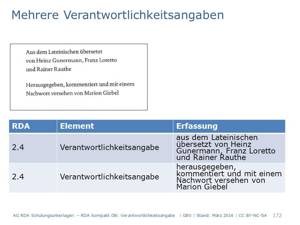 RDAElementErfassung 2.4Verantwortlichkeitsangabe aus dem Lateinischen übersetzt von Heinz Gunermann, Franz Loretto und Rainer Rauthe 2.4Verantwortlich