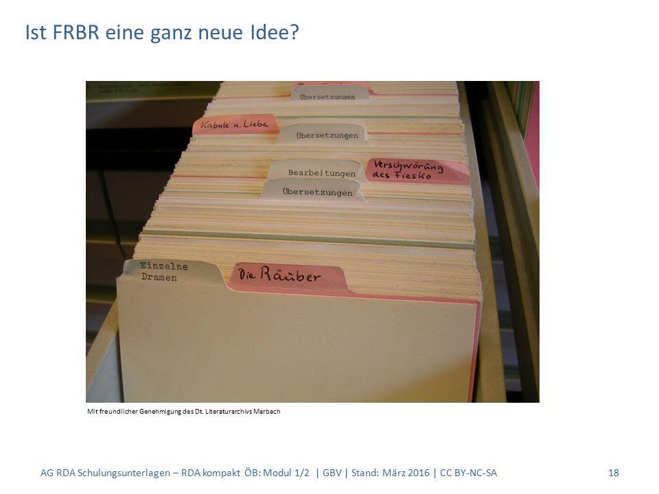 Ist FRBR eine ganz neue Idee? 18 Mit freundlicher Genehmigung des Dt. Literaturarchivs Marbach AG RDA Schulungsunterlagen – RDA kompakt ÖB: Modul 1/2