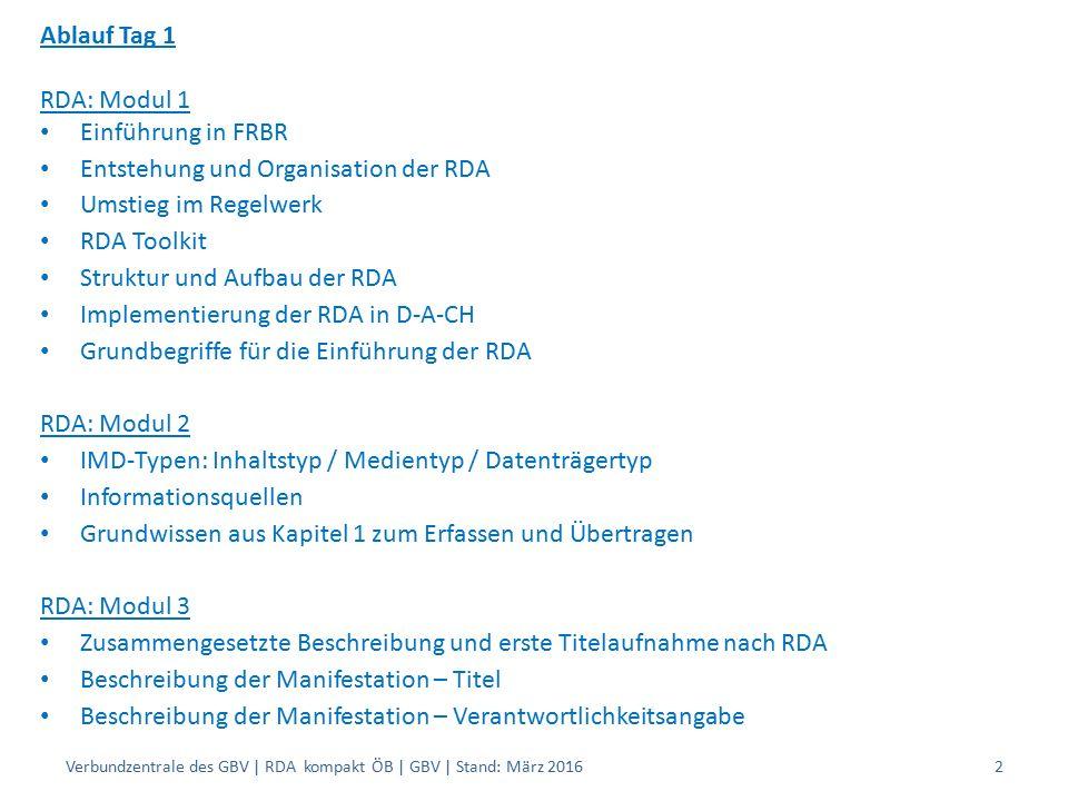 Ablauf Tag 1 RDA: Modul 1 Einführung in FRBR Entstehung und Organisation der RDA Umstieg im Regelwerk RDA Toolkit Struktur und Aufbau der RDA Implementierung der RDA in D-A-CH Grundbegriffe für die Einführung der RDA RDA: Modul 2 IMD-Typen: Inhaltstyp / Medientyp / Datenträgertyp Informationsquellen Grundwissen aus Kapitel 1 zum Erfassen und Übertragen RDA: Modul 3 Zusammengesetzte Beschreibung und erste Titelaufnahme nach RDA Beschreibung der Manifestation – Titel Beschreibung der Manifestation – Verantwortlichkeitsangabe Verbundzentrale des GBV | RDA kompakt ÖB | GBV | Stand: März 20162