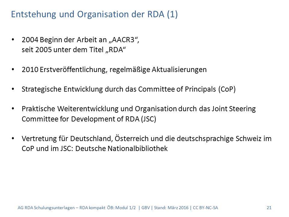 """Entstehung und Organisation der RDA (1) 2004 Beginn der Arbeit an """"AACR3"""", seit 2005 unter dem Titel """"RDA"""" 2010 Erstveröffentlichung, regelmäßige Aktu"""
