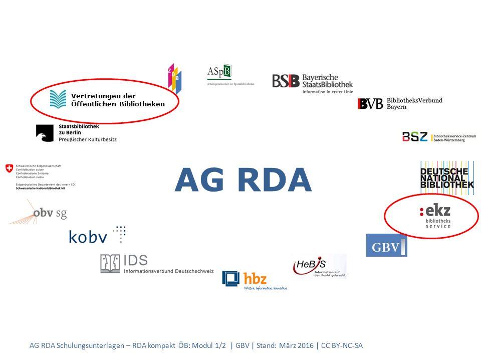 AG RDA Vertretungen der Öffentlichen Bibliotheken AG RDA Schulungsunterlagen – RDA kompakt ÖB: Modul 1/2 | GBV | Stand: März 2016 | CC BY-NC-SA