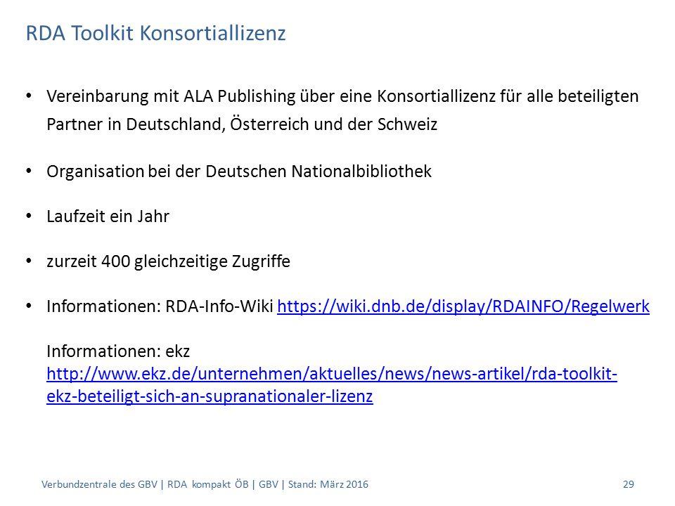 RDA Toolkit Konsortiallizenz Vereinbarung mit ALA Publishing über eine Konsortiallizenz für alle beteiligten Partner in Deutschland, Österreich und der Schweiz Organisation bei der Deutschen Nationalbibliothek Laufzeit ein Jahr zurzeit 400 gleichzeitige Zugriffe Informationen: RDA-Info-Wiki https://wiki.dnb.de/display/RDAINFO/Regelwerk Informationen: ekz http://www.ekz.de/unternehmen/aktuelles/news/news-artikel/rda-toolkit- ekz-beteiligt-sich-an-supranationaler-lizenzhttps://wiki.dnb.de/display/RDAINFO/Regelwerk http://www.ekz.de/unternehmen/aktuelles/news/news-artikel/rda-toolkit- ekz-beteiligt-sich-an-supranationaler-lizenz Verbundzentrale des GBV | RDA kompakt ÖB | GBV | Stand: März 201629