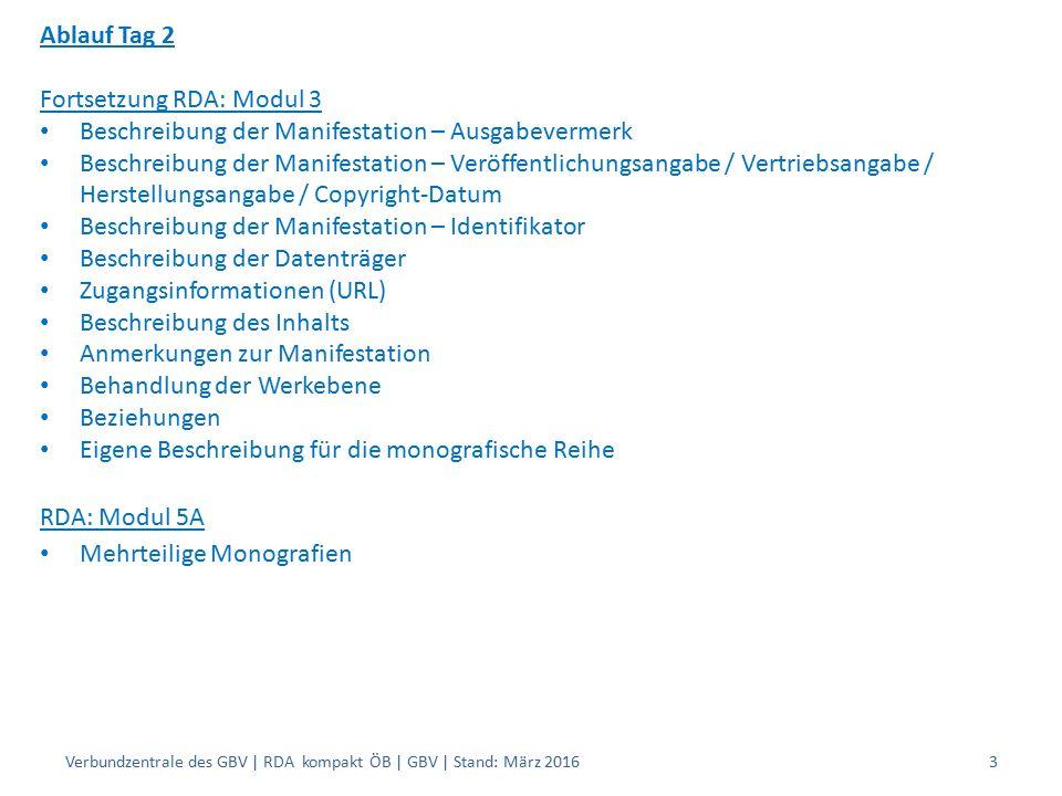 Ablauf Tag 2 Fortsetzung RDA: Modul 3 Beschreibung der Manifestation – Ausgabevermerk Beschreibung der Manifestation – Veröffentlichungsangabe / Vertr