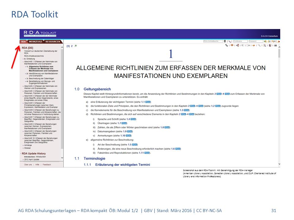 RDA Toolkit 31 Screenshot aus dem RDA-Toolkit mit Genehmigung der RDA-Verleger (American Library Association, Canadian Library Association, und CILIP: