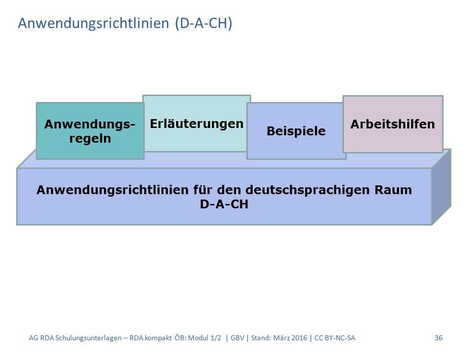 Anwendungsrichtlinien (D-A-CH) 36 Anwendungsrichtlinien für den deutschsprachigen Raum D-A-CH Erläuterungen Beispiele Arbeitshilfen Anwendungs- regeln AG RDA Schulungsunterlagen – RDA kompakt ÖB: Modul 1/2 | GBV | Stand: März 2016 | CC BY-NC-SA