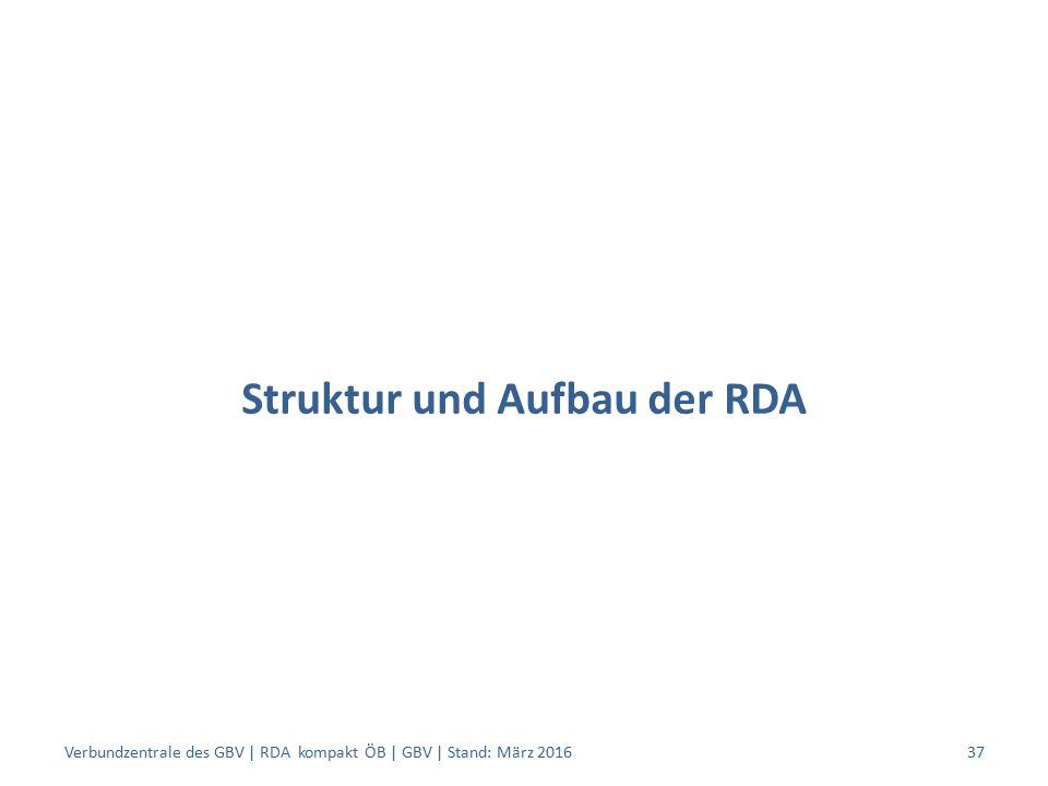 Struktur und Aufbau der RDA Verbundzentrale des GBV | RDA kompakt ÖB | GBV | Stand: März 201637