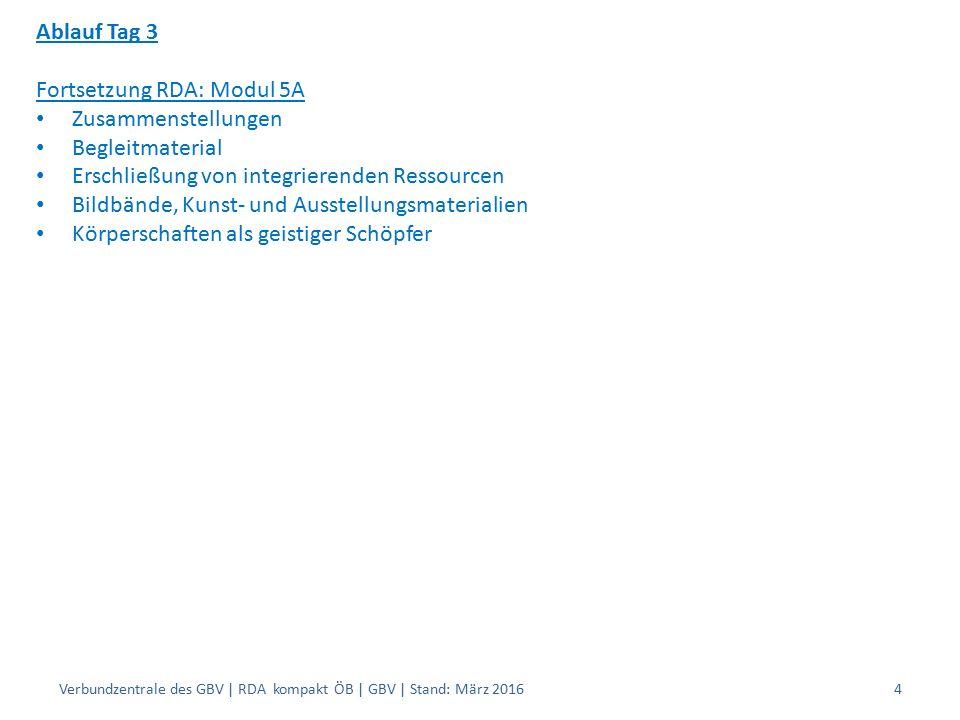 Ablauf Tag 3 Fortsetzung RDA: Modul 5A Zusammenstellungen Begleitmaterial Erschließung von integrierenden Ressourcen Bildbände, Kunst- und Ausstellungsmaterialien Körperschaften als geistiger Schöpfer Verbundzentrale des GBV | RDA kompakt ÖB | GBV | Stand: März 20164