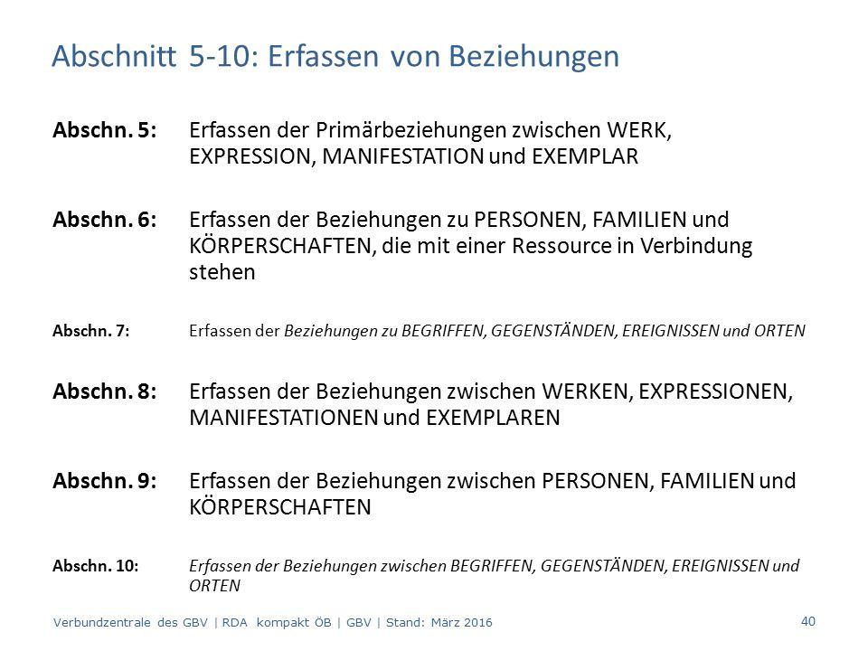 Abschnitt 5-10: Erfassen von Beziehungen Abschn. 5:Erfassen der Primärbeziehungen zwischen WERK, EXPRESSION, MANIFESTATION und EXEMPLAR Abschn. 6: Erf