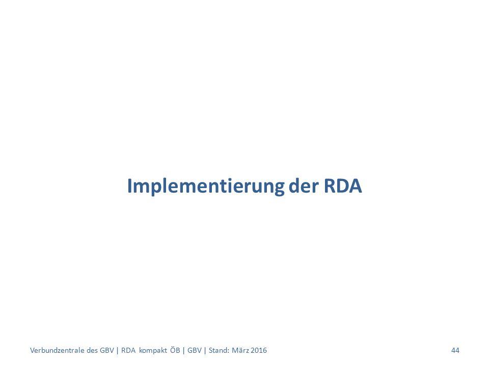 Implementierung der RDA Verbundzentrale des GBV | RDA kompakt ÖB | GBV | Stand: März 201644