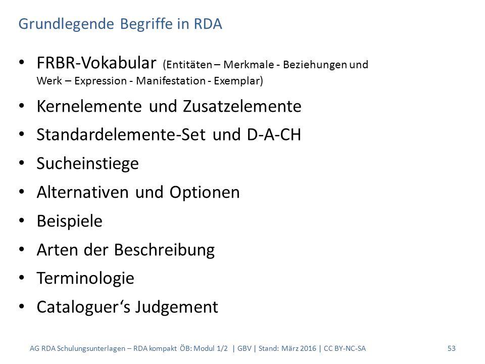 Grundlegende Begriffe in RDA FRBR-Vokabular (Entitäten – Merkmale - Beziehungen und Werk – Expression - Manifestation - Exemplar) Kernelemente und Zusatzelemente Standardelemente-Set und D-A-CH Sucheinstiege Alternativen und Optionen Beispiele Arten der Beschreibung Terminologie Cataloguer's Judgement AG RDA Schulungsunterlagen – RDA kompakt ÖB: Modul 1/2 | GBV | Stand: März 2016 | CC BY-NC-SA53