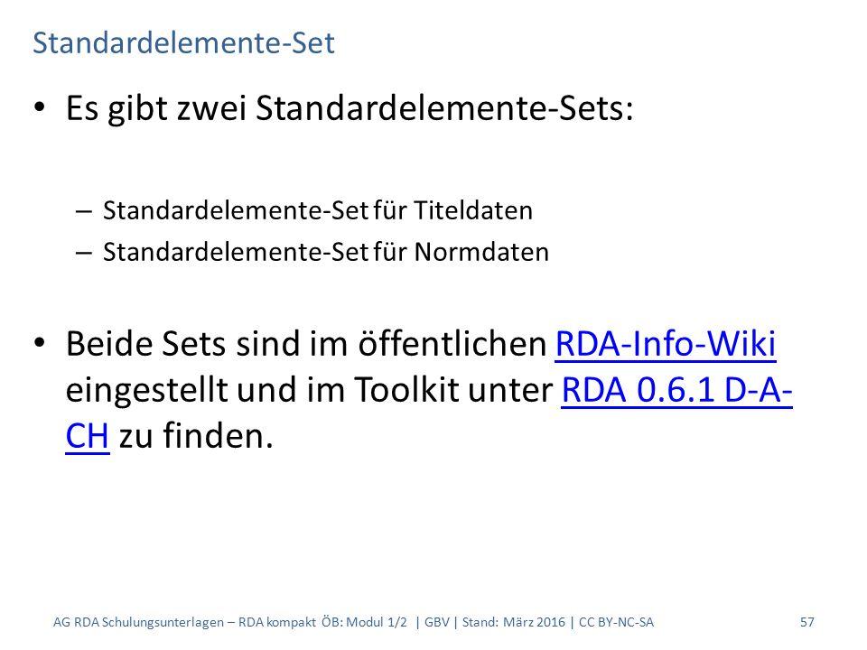 Standardelemente-Set Es gibt zwei Standardelemente-Sets: – Standardelemente-Set für Titeldaten – Standardelemente-Set für Normdaten Beide Sets sind im öffentlichen RDA-Info-Wiki eingestellt und im Toolkit unter RDA 0.6.1 D-A- CH zu finden.RDA-Info-WikiRDA 0.6.1 D-A- CH AG RDA Schulungsunterlagen – RDA kompakt ÖB: Modul 1/2 | GBV | Stand: März 2016 | CC BY-NC-SA 57