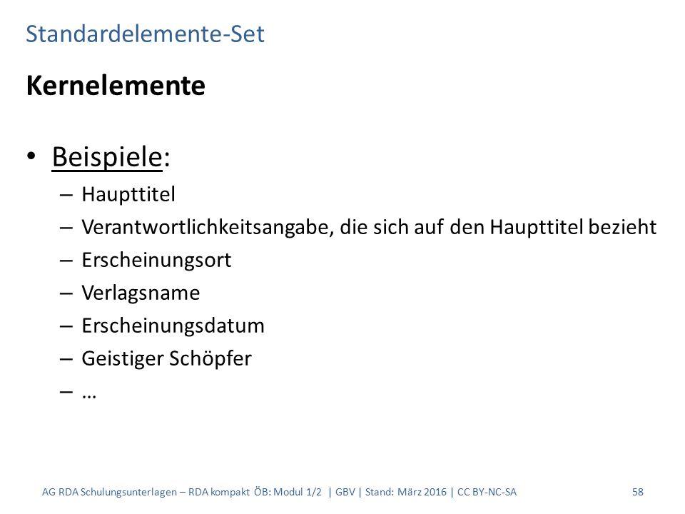 Standardelemente-Set Kernelemente Beispiele: – Haupttitel – Verantwortlichkeitsangabe, die sich auf den Haupttitel bezieht – Erscheinungsort – Verlags