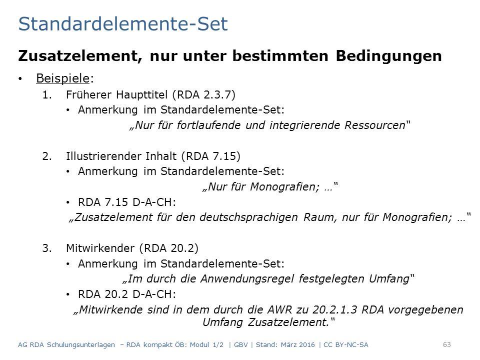 """Standardelemente-Set Zusatzelement, nur unter bestimmten Bedingungen Beispiele: 1.Früherer Haupttitel (RDA 2.3.7) Anmerkung im Standardelemente-Set: """""""