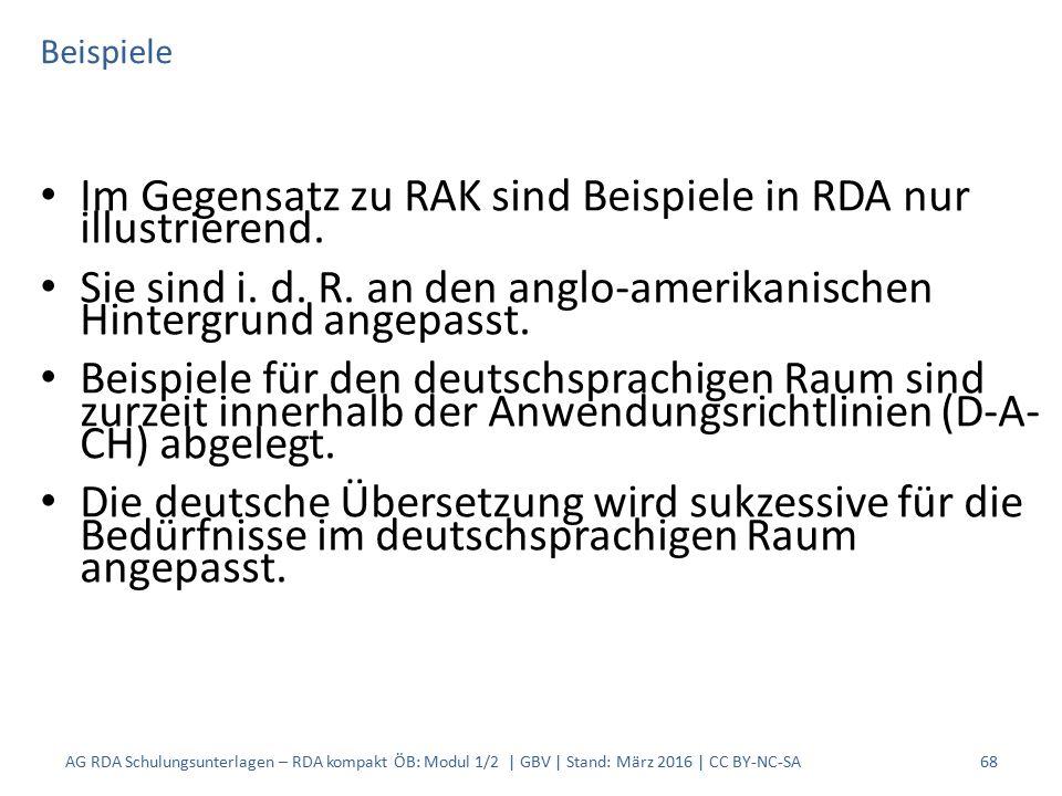 Beispiele Im Gegensatz zu RAK sind Beispiele in RDA nur illustrierend. Sie sind i. d. R. an den anglo-amerikanischen Hintergrund angepasst. Beispiele